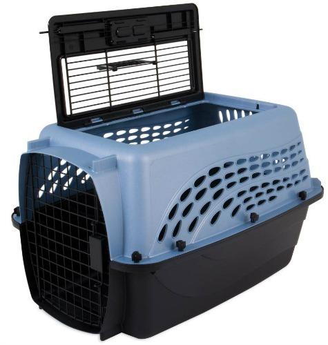 Blue two-door cat carrier